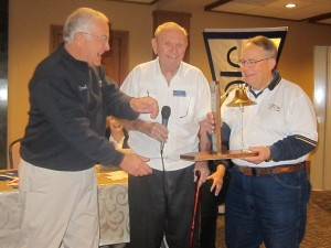 Past Commander Errol Keith passing the TCC Bell to current Commander Bob Mazzola